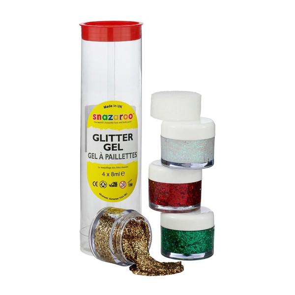 Snazaroo Glitter Gel Tubes -Bright Green, Regal Red, Star Dust, Red Gold