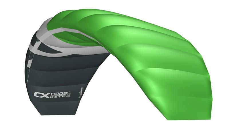 Cross Kites. Boarder 1.8 - FLURO GREEN. Inc' 2 line control bar