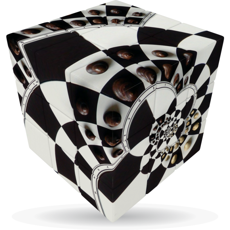 V-Cube Chessboard Illusion - 3 x 3 Flat Puzzle Cube