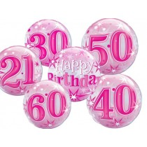 "Qualatex 22"" 'Pink Starburst Sparkle' Birthday Bubble Balloon"
