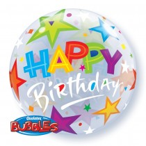 "Qualatex 22"" Bubble Balloons 'Brilliant Stars' Birthday"